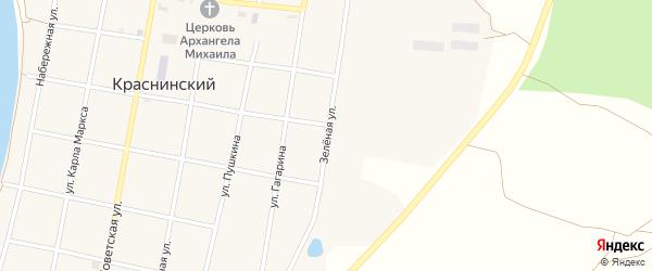 Зеленая улица на карте Краснинского поселка с номерами домов