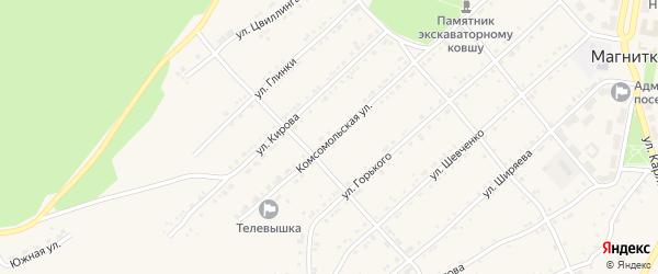 Комсомольская улица на карте поселка Магнитки с номерами домов