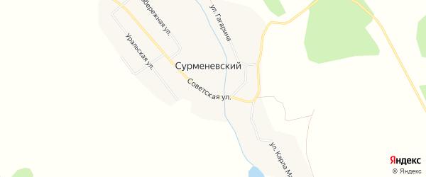 Карта Сурменевского поселка в Челябинской области с улицами и номерами домов