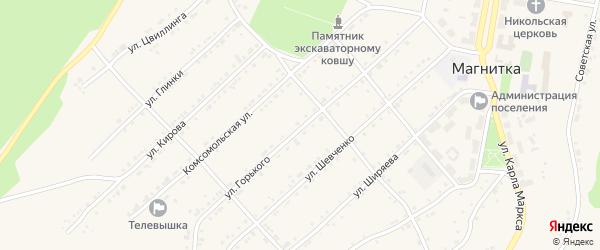 Улица Максима Горького на карте поселка Магнитки с номерами домов