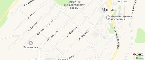 Улица Шевченко на карте поселка Магнитки с номерами домов