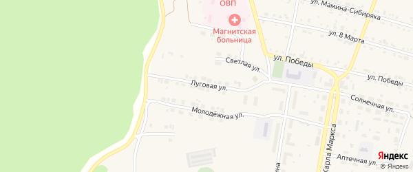 Луговая улица на карте поселка Магнитки с номерами домов