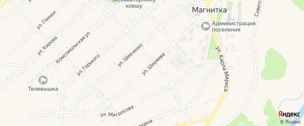 Улица Ширяева на карте поселка Магнитки с номерами домов