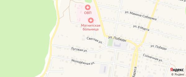Светлая улица на карте поселка Магнитки с номерами домов