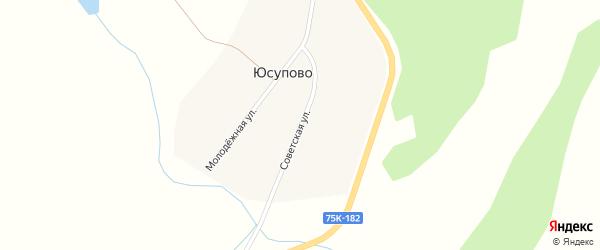 Советская улица на карте деревни Юсупово с номерами домов