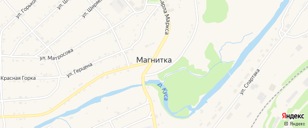 Парковая улица на карте поселка Магнитки с номерами домов