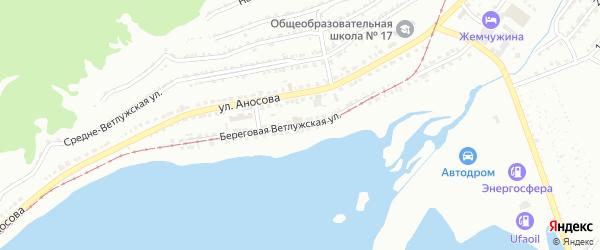 Береговая Ветлужская улица на карте Златоуста с номерами домов