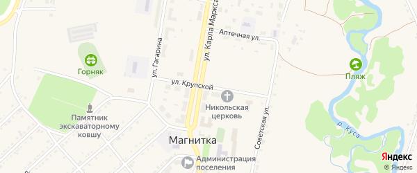 Улица Крупской на карте поселка Магнитки с номерами домов