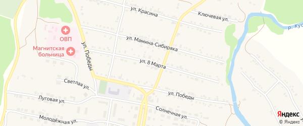 Улица 8 Марта на карте поселка Магнитки с номерами домов