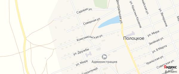 Комсомольская улица на карте Полоцкого села с номерами домов