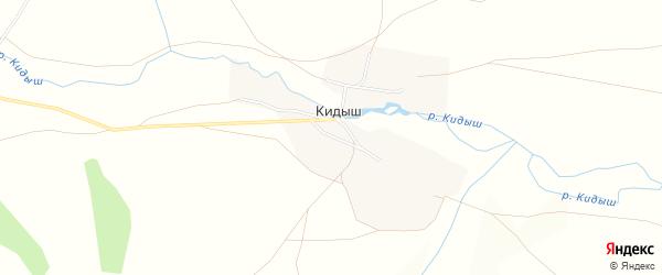 Карта деревни Кидыша в Башкортостане с улицами и номерами домов