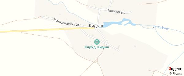 Заречная улица на карте деревни Кидыша с номерами домов