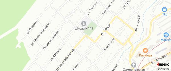 Красноармейская улица на карте Златоуста с номерами домов