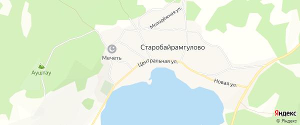 Карта деревни Старобайрамгулово в Башкортостане с улицами и номерами домов