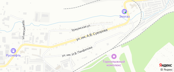 Улица им А.В.Суворова на карте Златоуста с номерами домов