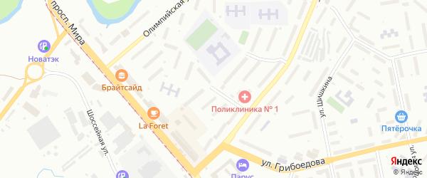 Зеленая улица на карте поселка Тайнака с номерами домов