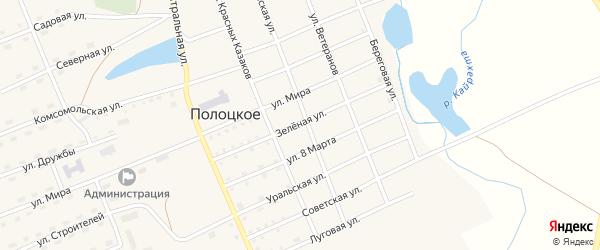 Зеленая улица на карте Полоцкого села с номерами домов