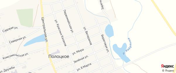 Улица Ветеранов на карте Полоцкого села с номерами домов