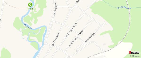 Улица Островского на карте поселка Магнитки с номерами домов