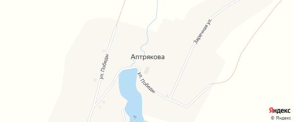 Набережная улица на карте деревни Аптрякова с номерами домов
