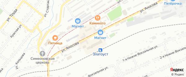 Привокзальная площадь на карте Златоуста с номерами домов