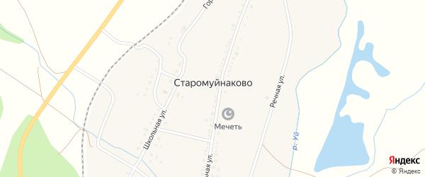 Школьная улица на карте деревни Старомуйнаково с номерами домов