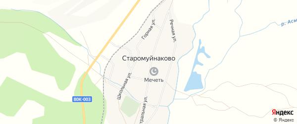 Карта деревни Старомуйнаково в Башкортостане с улицами и номерами домов