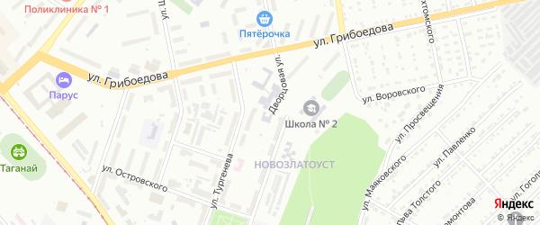 Дворцовая улица на карте Златоуста с номерами домов