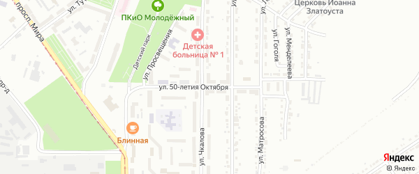 Улица 50-летия Октября на карте Златоуста с номерами домов