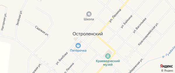 Гаражный переулок на карте Остроленского поселка с номерами домов