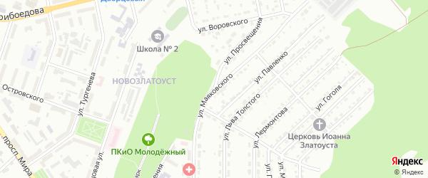 Улица Просвещения на карте Златоуста с номерами домов