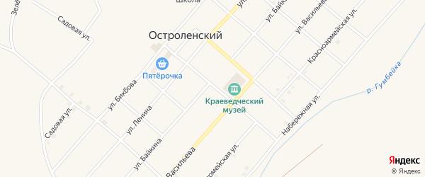 Улица Байкина на карте Остроленского поселка с номерами домов