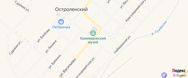 Улица Васильева на карте Остроленского поселка с номерами домов