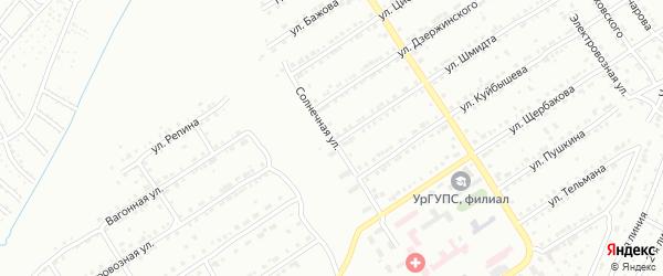Солнечная улица на карте поселка Тайнака с номерами домов