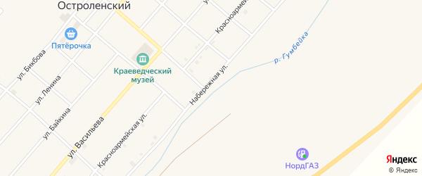 Набережная улица на карте Остроленского поселка с номерами домов