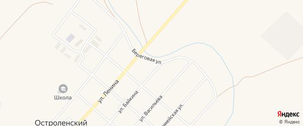 Береговая улица на карте Остроленского поселка с номерами домов