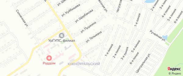 Улица им Э.Тельмана на карте Златоуста с номерами домов