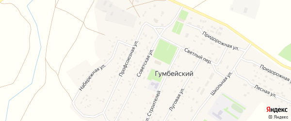 Советская улица на карте Гумбейского поселка с номерами домов