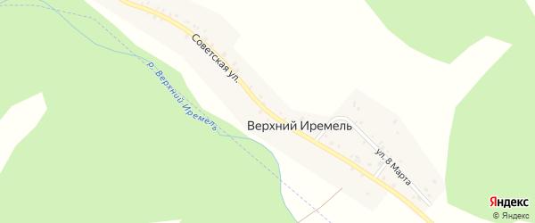Советская улица на карте поселка Верхнего Иремеля с номерами домов