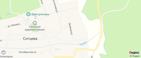 Зеленая улица на карте деревни Ситцева с номерами домов