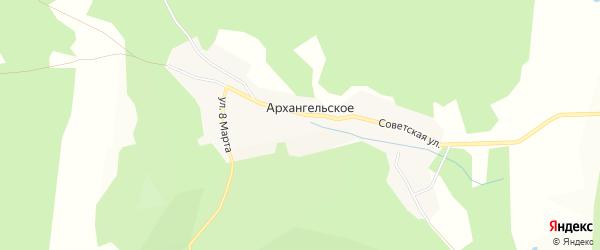 Карта поселка Архангельского города Миасса в Челябинской области с улицами и номерами домов
