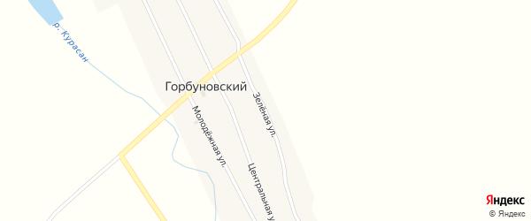 Зеленая улица на карте Горбуновского поселка с номерами домов