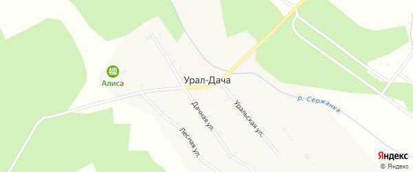 Центральная улица на карте поселка Урала-Дачи с номерами домов
