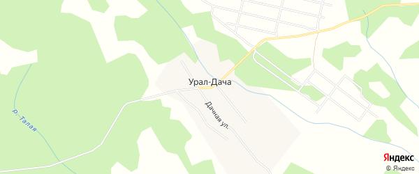 Карта поселка Урала-Дачи города Миасса в Челябинской области с улицами и номерами домов