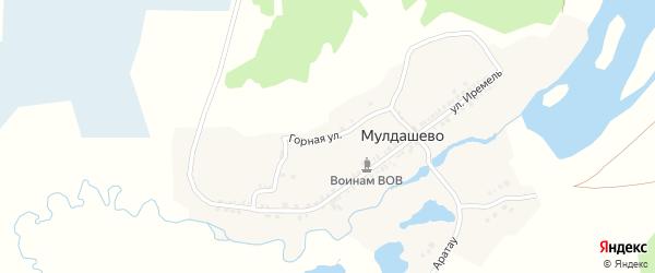 Горная улица на карте деревни Мулдашево с номерами домов