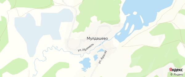 Карта деревни Мулдашево в Башкортостане с улицами и номерами домов