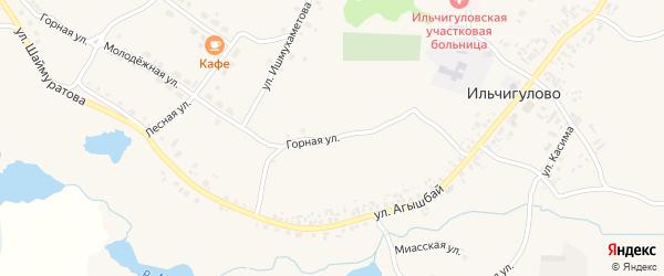 Горная улица на карте деревни Ильчигулово с номерами домов