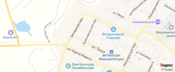 Комсомольский переулок на карте села Фершампенуаза с номерами домов