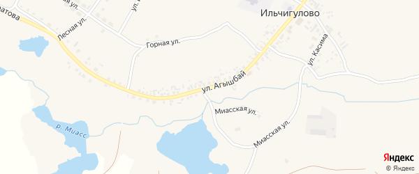 Улица Агышбай на карте деревни Ильчигулово с номерами домов