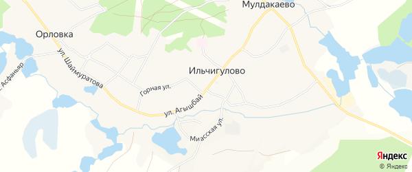Карта деревни Ильчигулово в Башкортостане с улицами и номерами домов